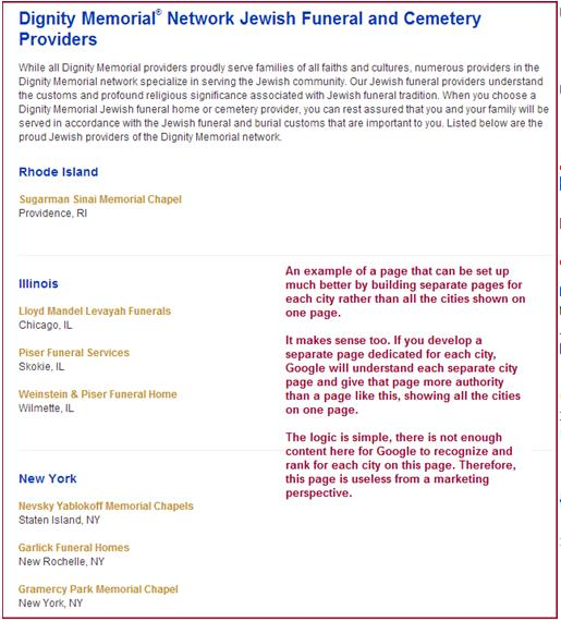 Multiple areas services on one page