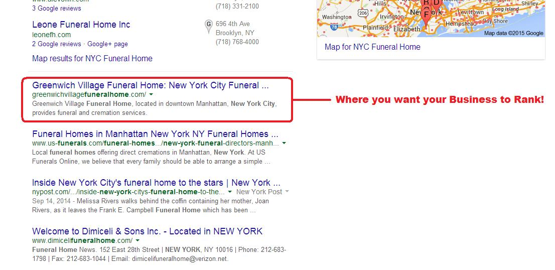 funeral home ranking on Google